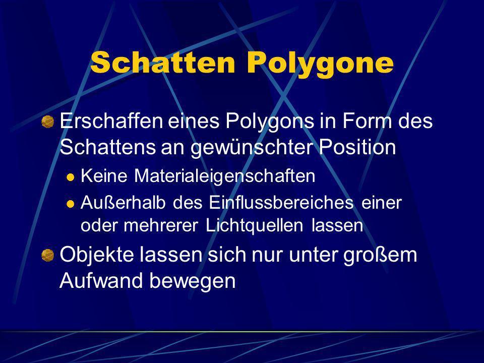 Schatten PolygoneErschaffen eines Polygons in Form des Schattens an gewünschter Position. Keine Materialeigenschaften.