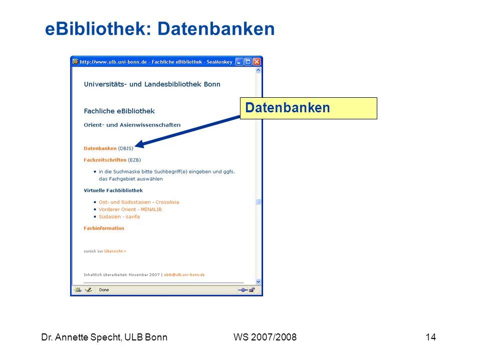 eBibliothek: Datenbanken