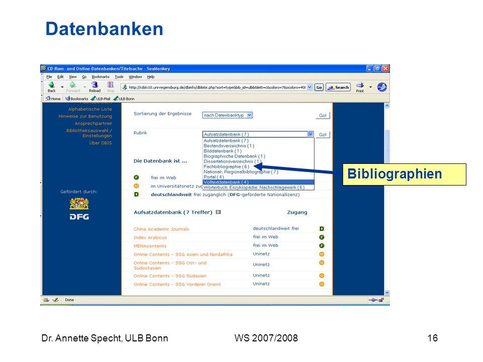 Datenbanken Bibliographien