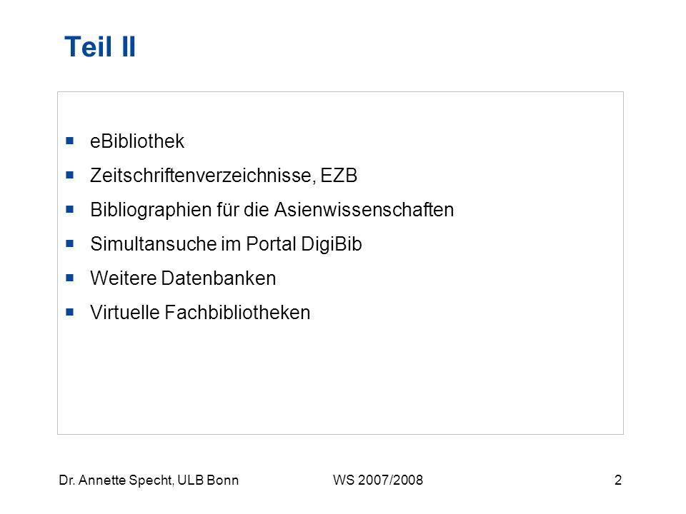 Teil II eBibliothek Zeitschriftenverzeichnisse, EZB