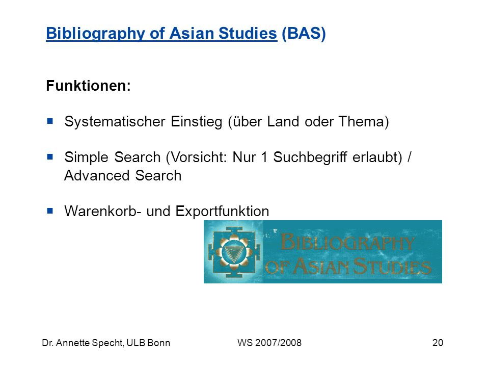 Bibliography of Asian Studies (BAS)