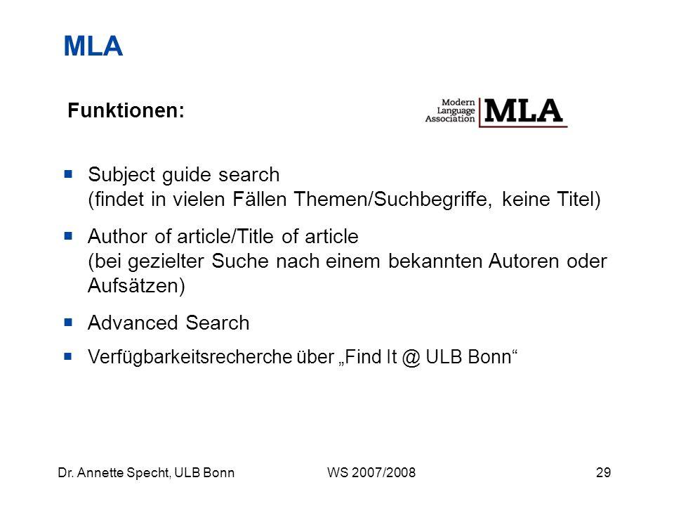 MLA Funktionen: Subject guide search (findet in vielen Fällen Themen/Suchbegriffe, keine Titel)