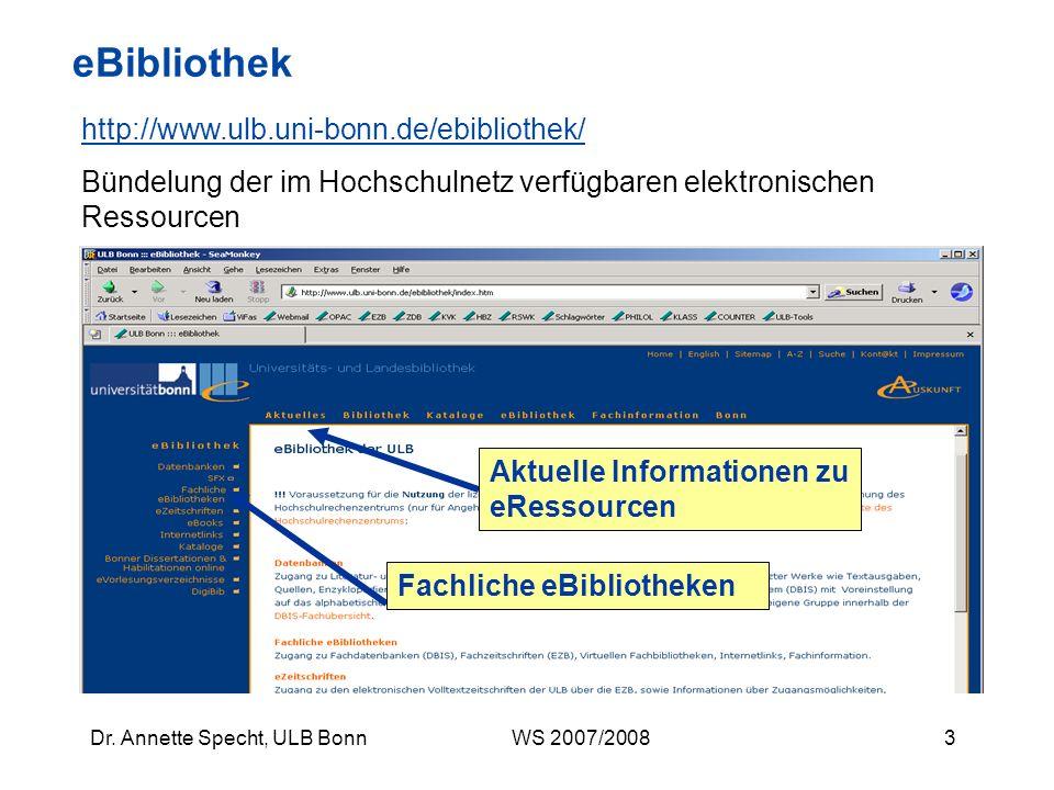 eBibliothek http://www.ulb.uni-bonn.de/ebibliothek/