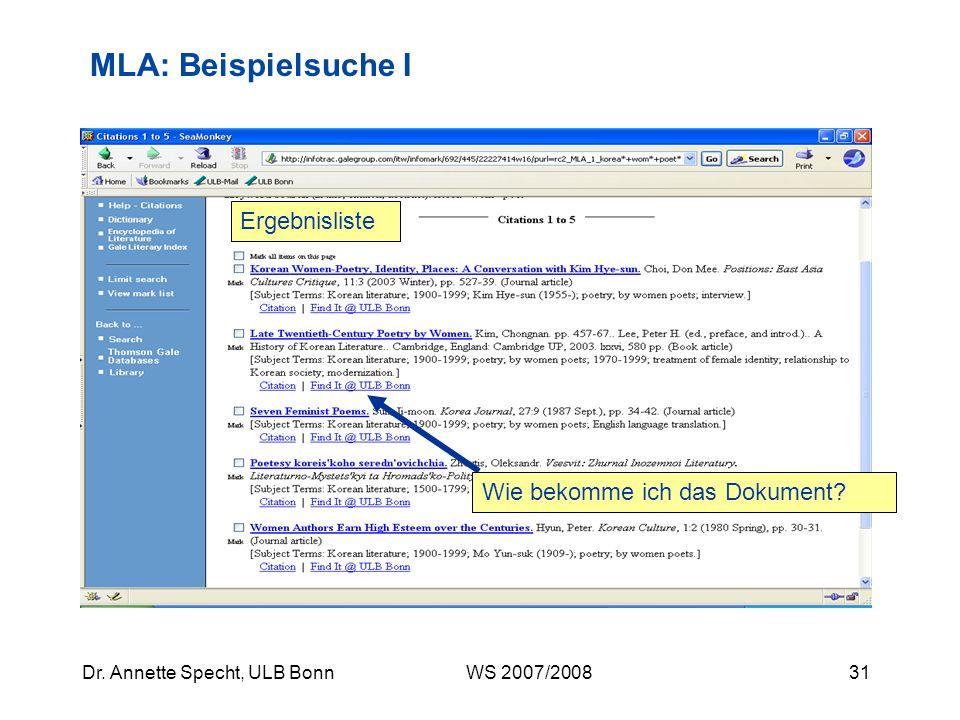 MLA: Beispielsuche I Ergebnisliste Wie bekomme ich das Dokument