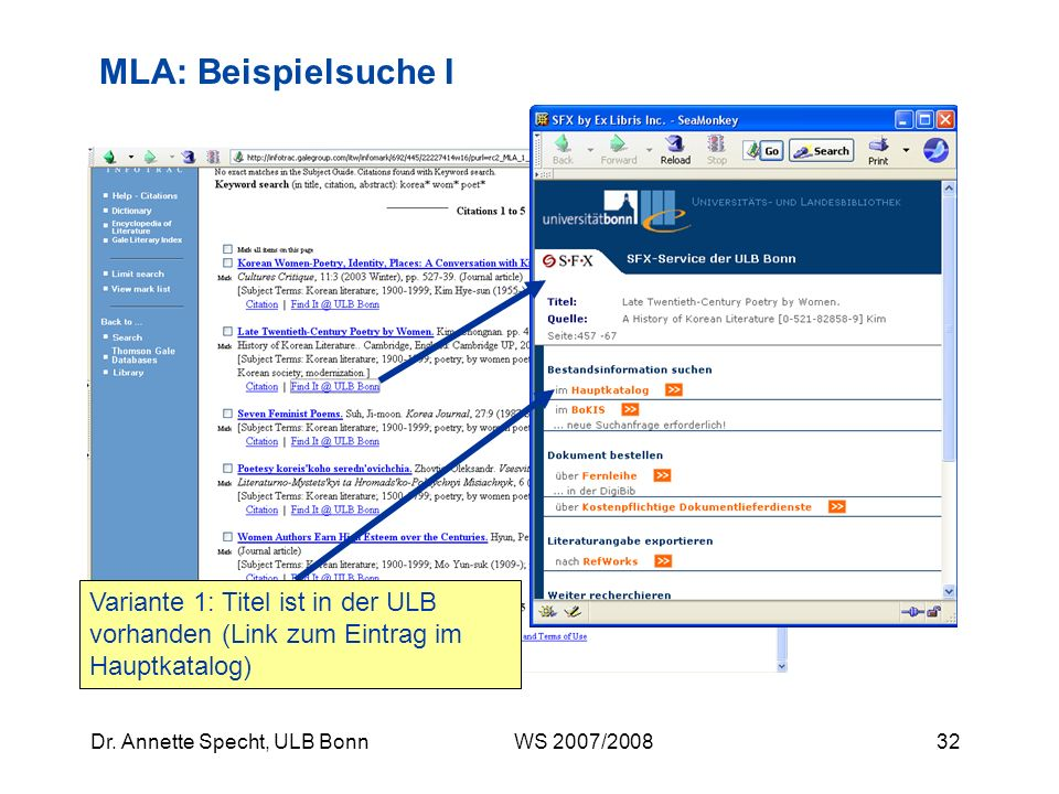 MLA: Beispielsuche I Variante 1: Titel ist in der ULB vorhanden (Link zum Eintrag im Hauptkatalog)