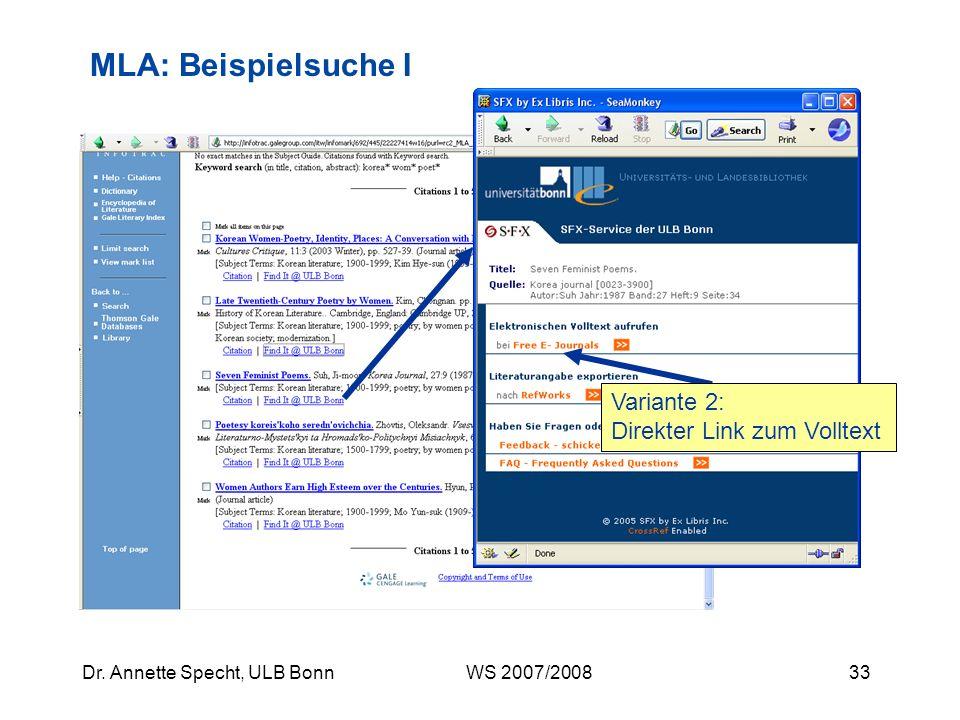 MLA: Beispielsuche I Variante 2: Direkter Link zum Volltext