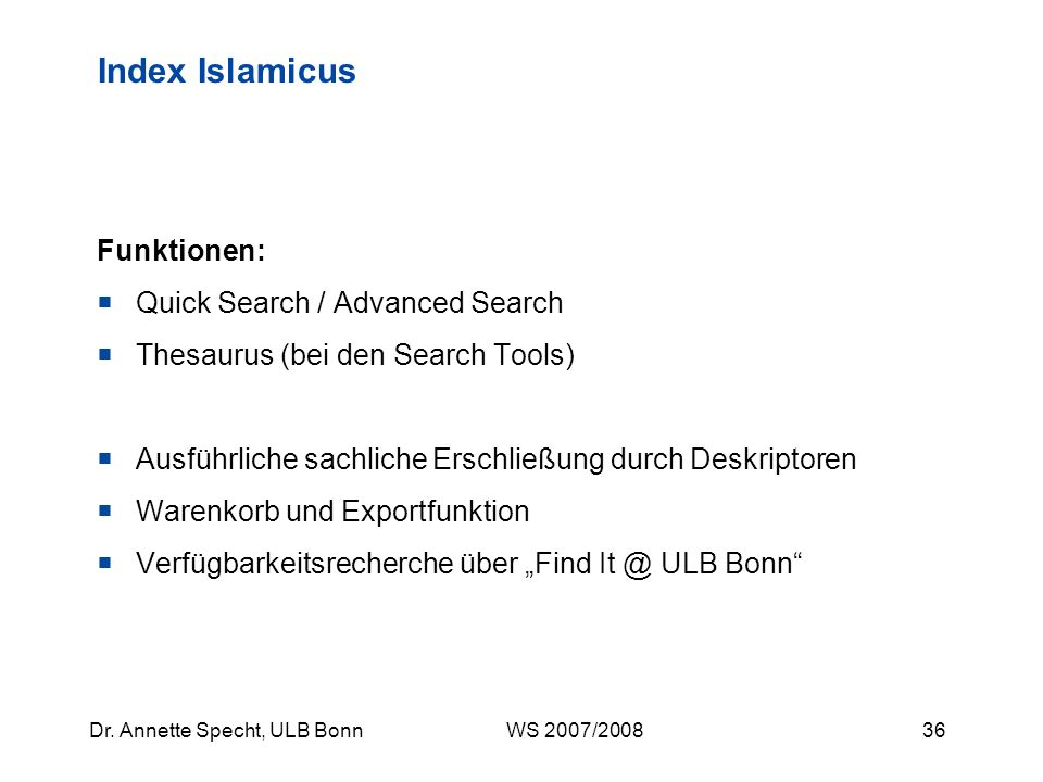 Index Islamicus Funktionen: Quick Search / Advanced Search