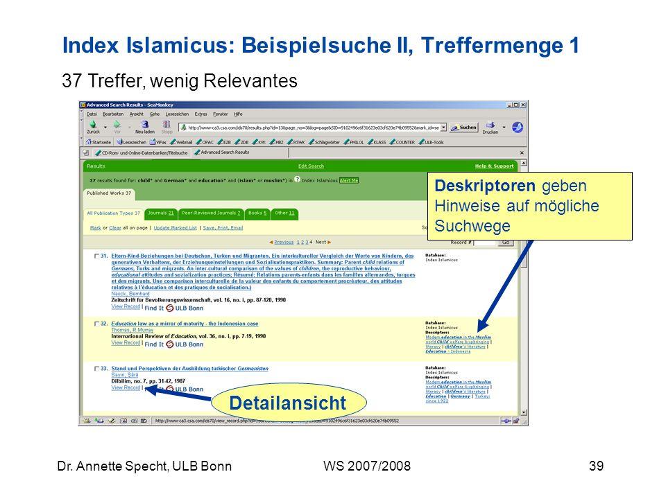 Index Islamicus: Beispielsuche II, Treffermenge 1
