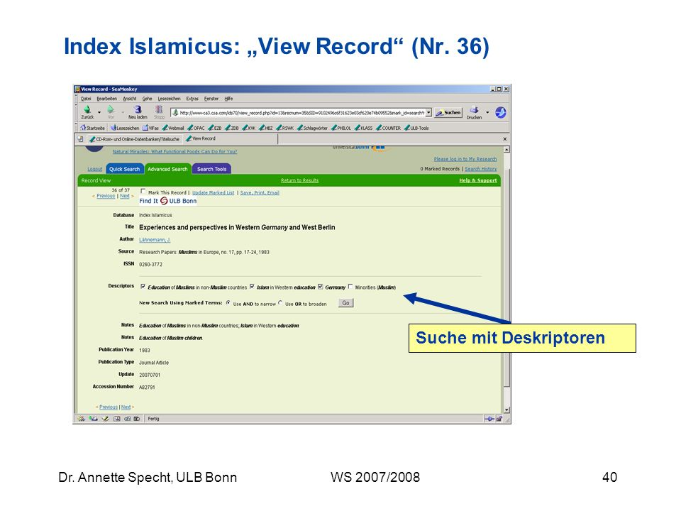 "Index Islamicus: ""View Record (Nr. 36)"