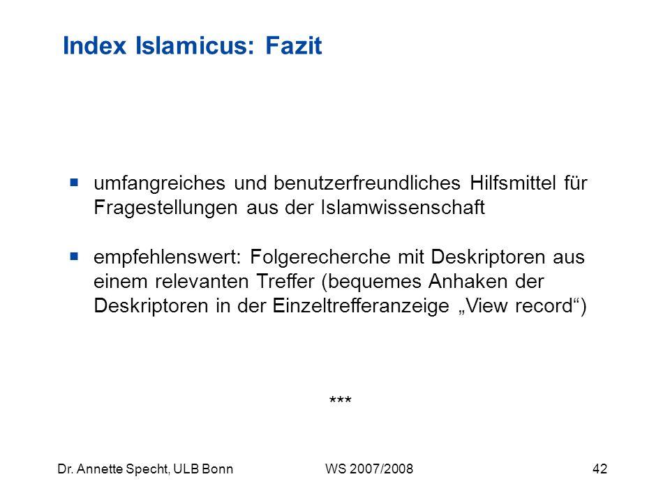 Index Islamicus: Fazit