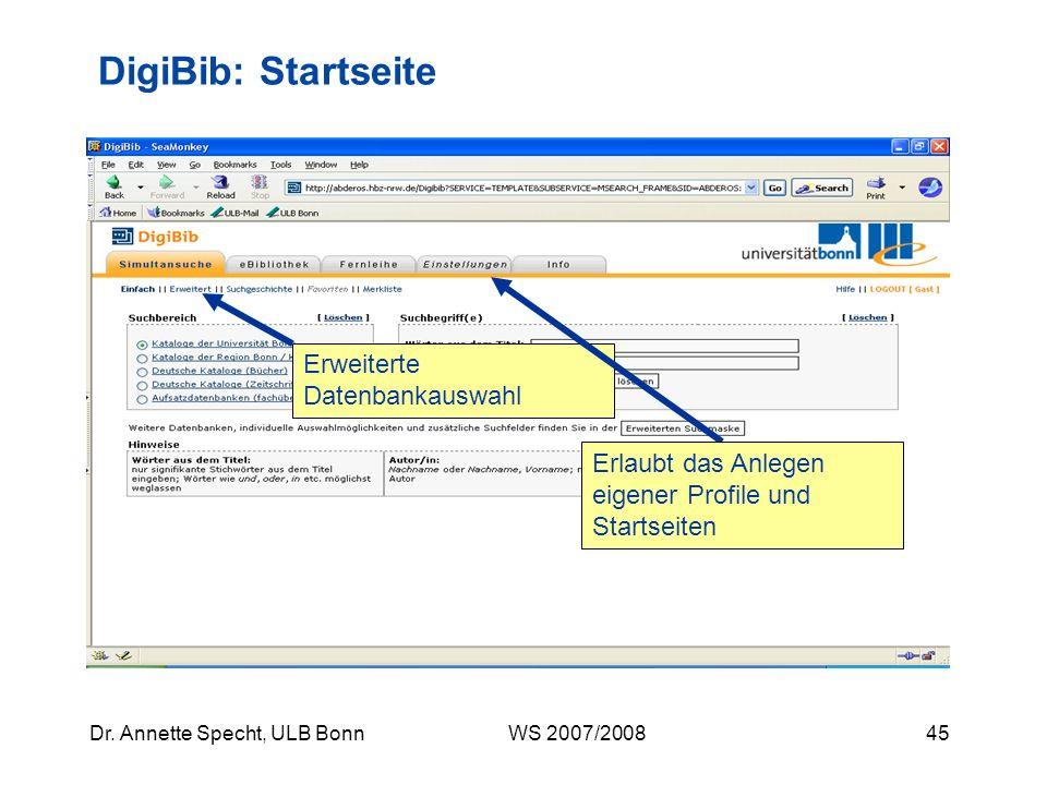 DigiBib: Startseite Erweiterte Datenbankauswahl