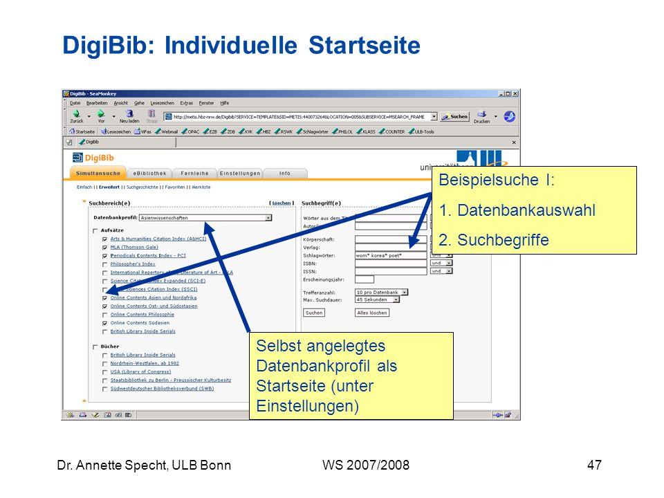 DigiBib: Individuelle Startseite