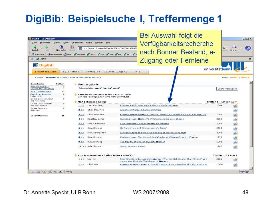 DigiBib: Beispielsuche I, Treffermenge 1