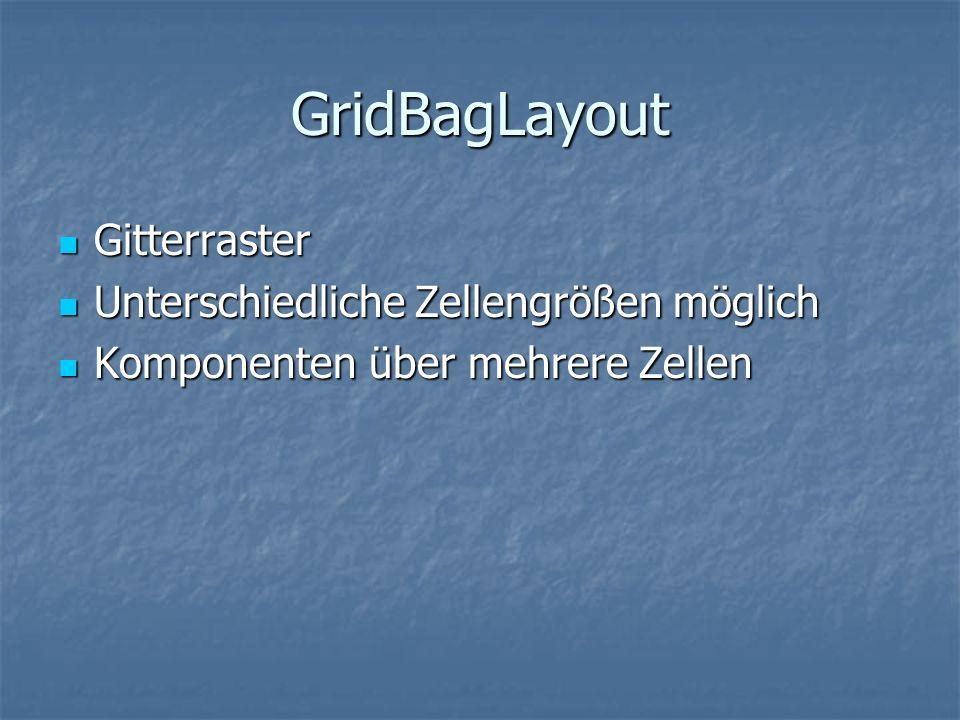 GridBagLayout Gitterraster Unterschiedliche Zellengrößen möglich
