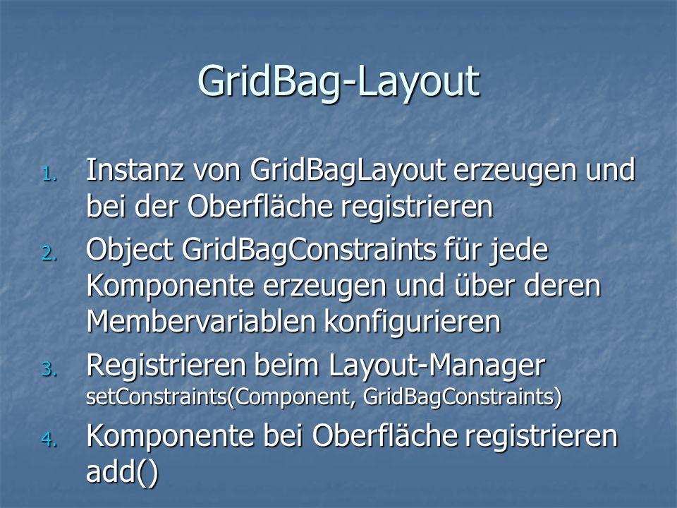 GridBag-Layout Instanz von GridBagLayout erzeugen und bei der Oberfläche registrieren.