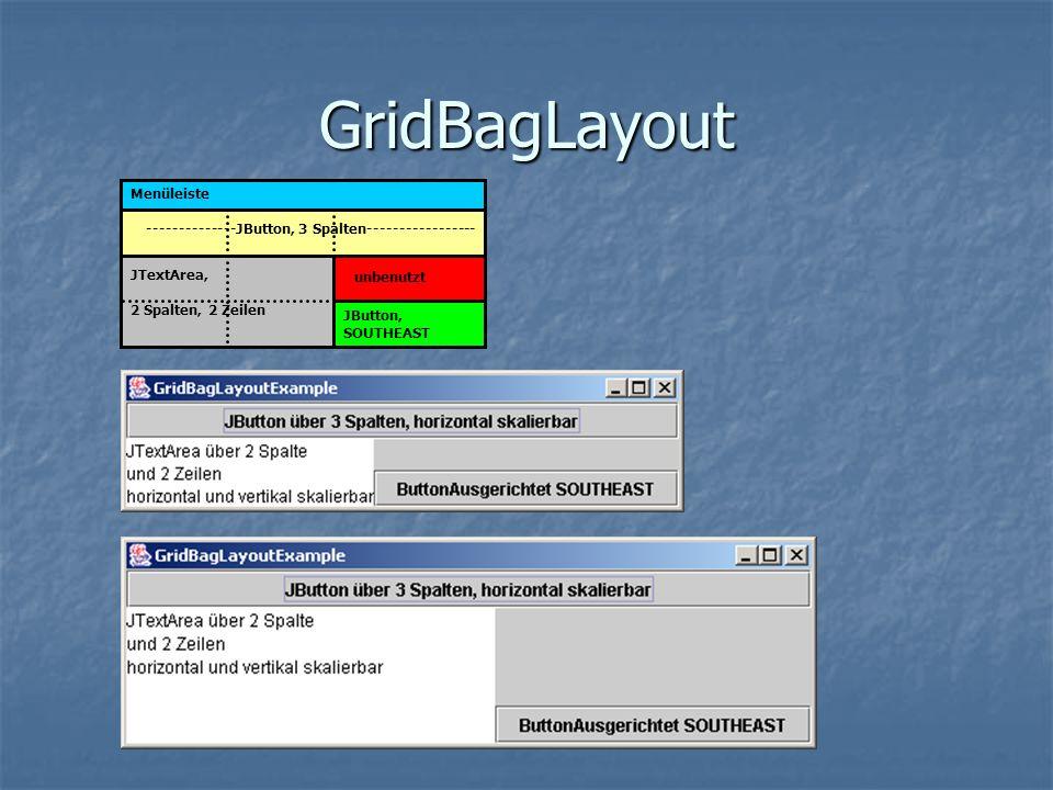 GridBagLayout Menüleiste