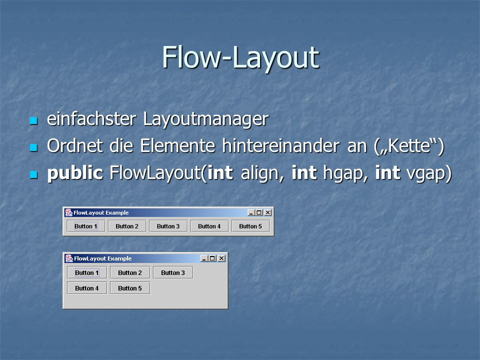 Flow-Layout einfachster Layoutmanager