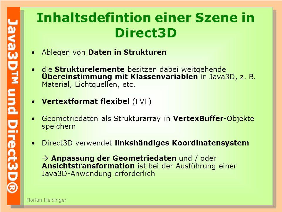 Inhaltsdefintion einer Szene in Direct3D