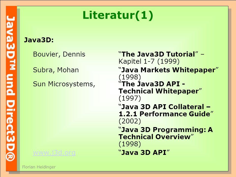 Literatur(1) Java3D: Bouvier, Dennis The Java3D Tutorial – Kapitel 1-7 (1999)