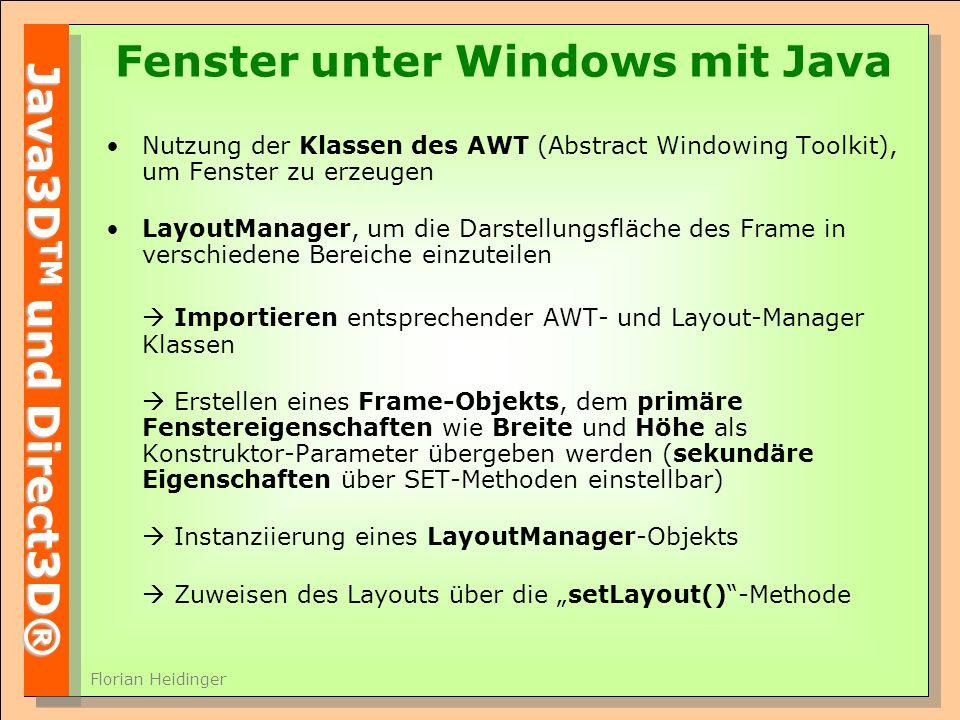 Fenster unter Windows mit Java