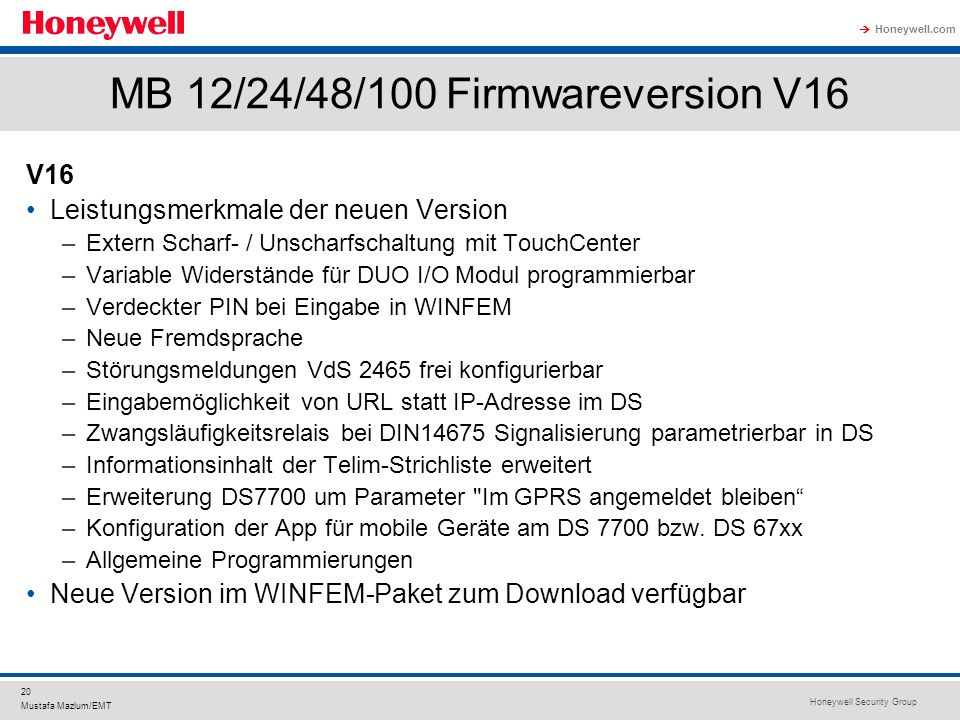 MB 12/24/48/100 Firmwareversion V16