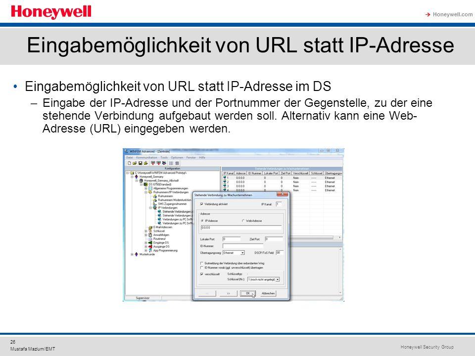 Eingabemöglichkeit von URL statt IP-Adresse