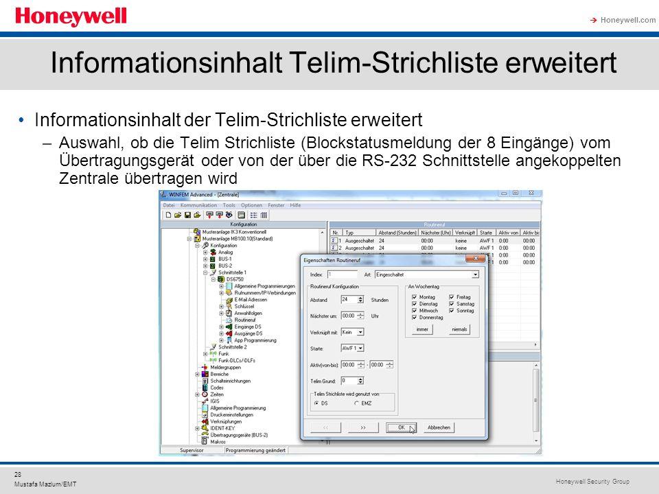 Informationsinhalt Telim-Strichliste erweitert