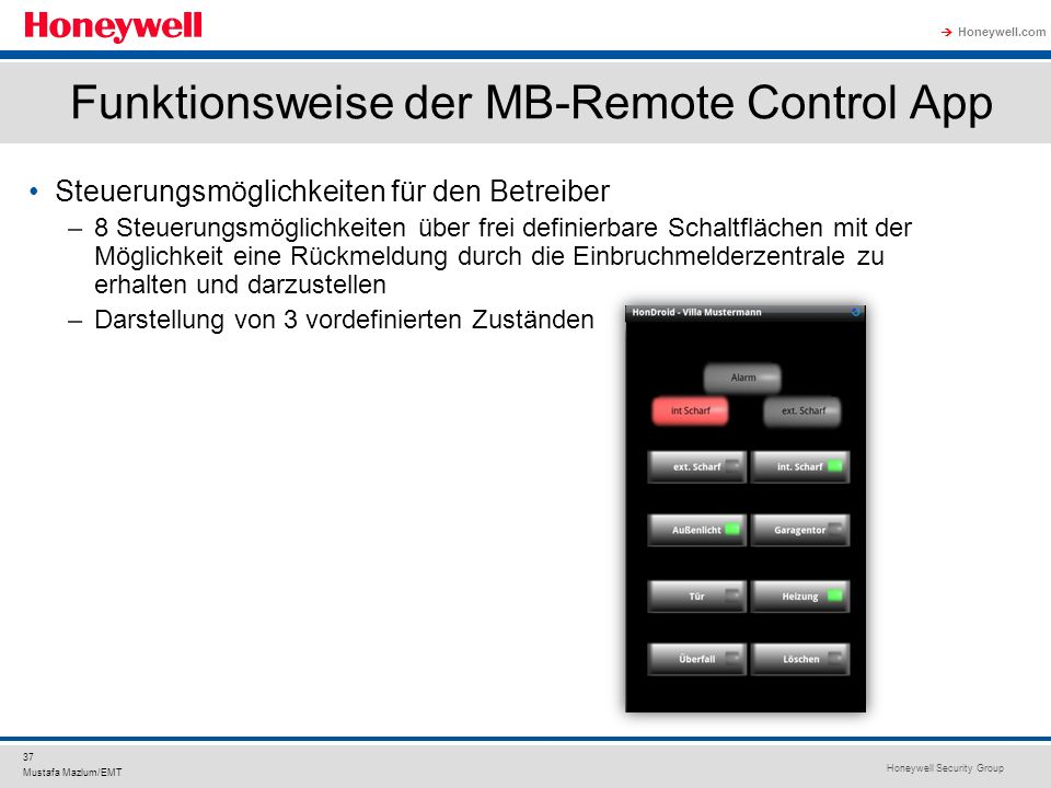 Funktionsweise der MB-Remote Control App