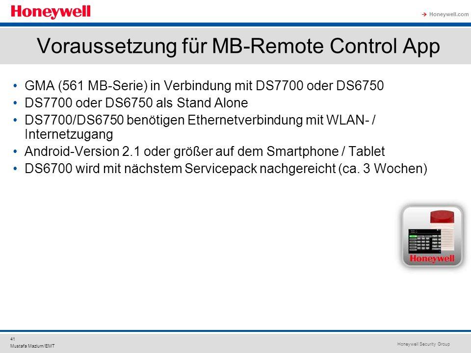 Voraussetzung für MB-Remote Control App