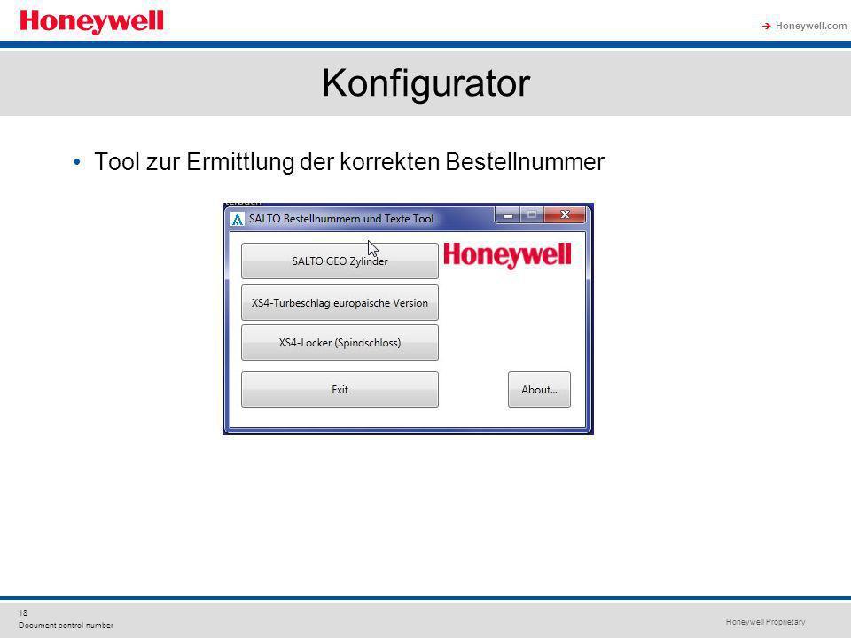 Konfigurator Tool zur Ermittlung der korrekten Bestellnummer