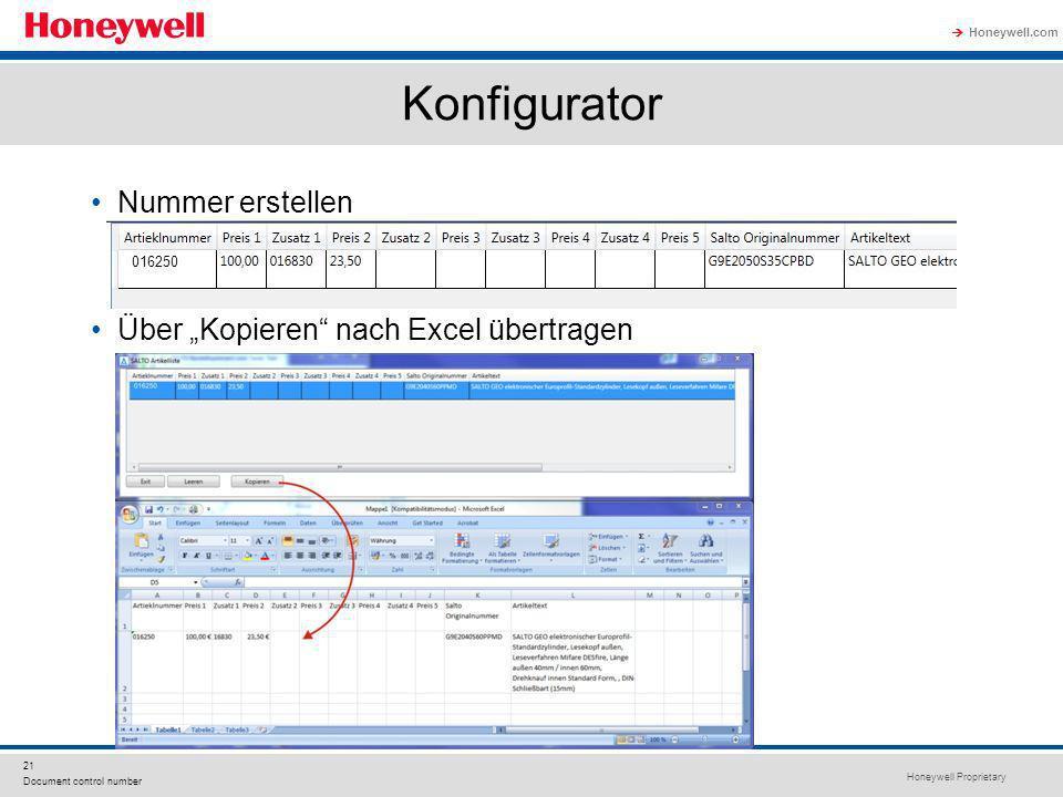 """Konfigurator Nummer erstellen Über """"Kopieren nach Excel übertragen"""