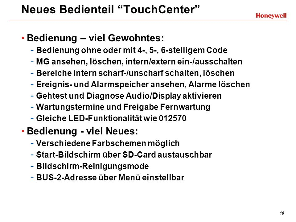Neues Bedienteil TouchCenter