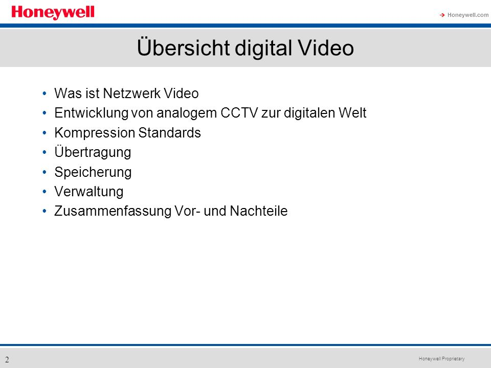 Übersicht digital Video
