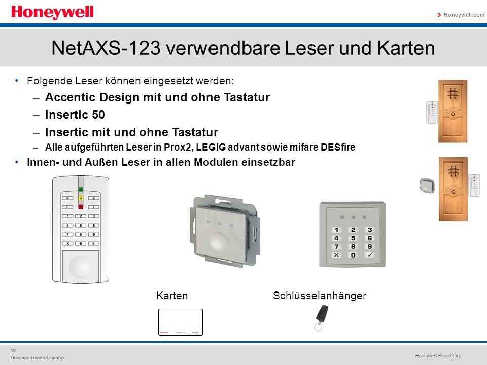 NetAXS-123 verwendbare Leser und Karten