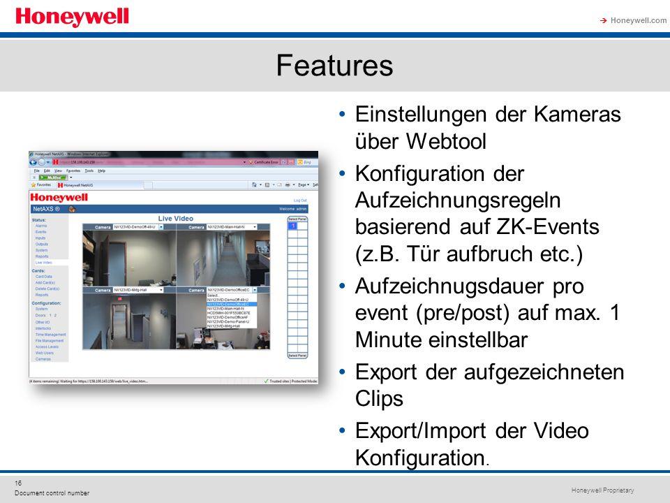 Features Einstellungen der Kameras über Webtool