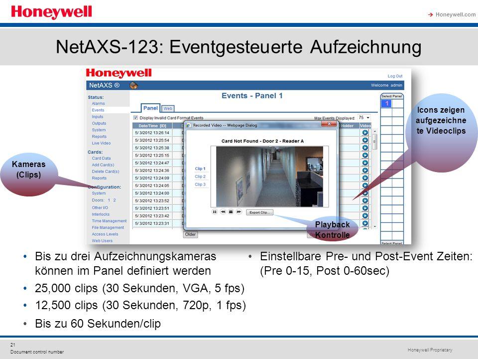 NetAXS-123: Eventgesteuerte Aufzeichnung