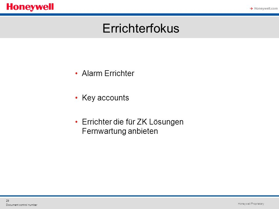 Errichterfokus Alarm Errichter Key accounts