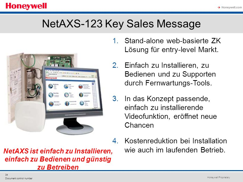 NetAXS-123 Key Sales Message