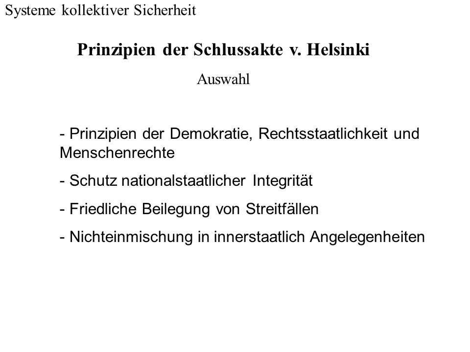Prinzipien der Schlussakte v. Helsinki