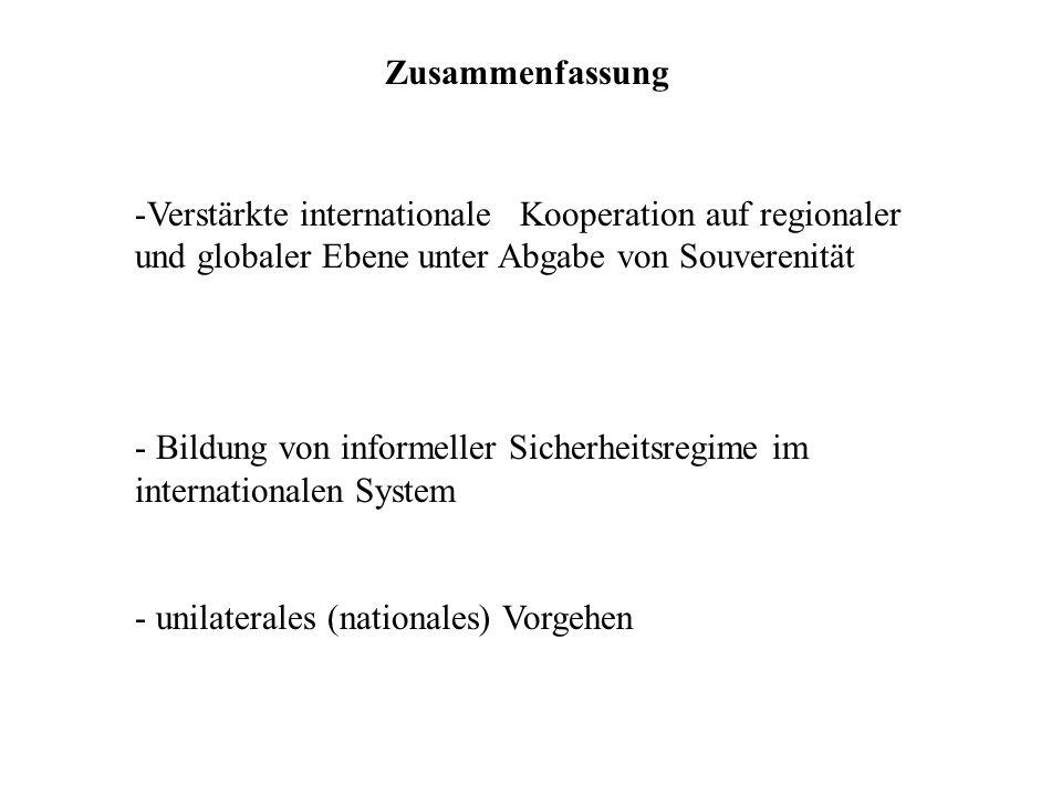 Zusammenfassung Verstärkte internationale Kooperation auf regionaler und globaler Ebene unter Abgabe von Souverenität.