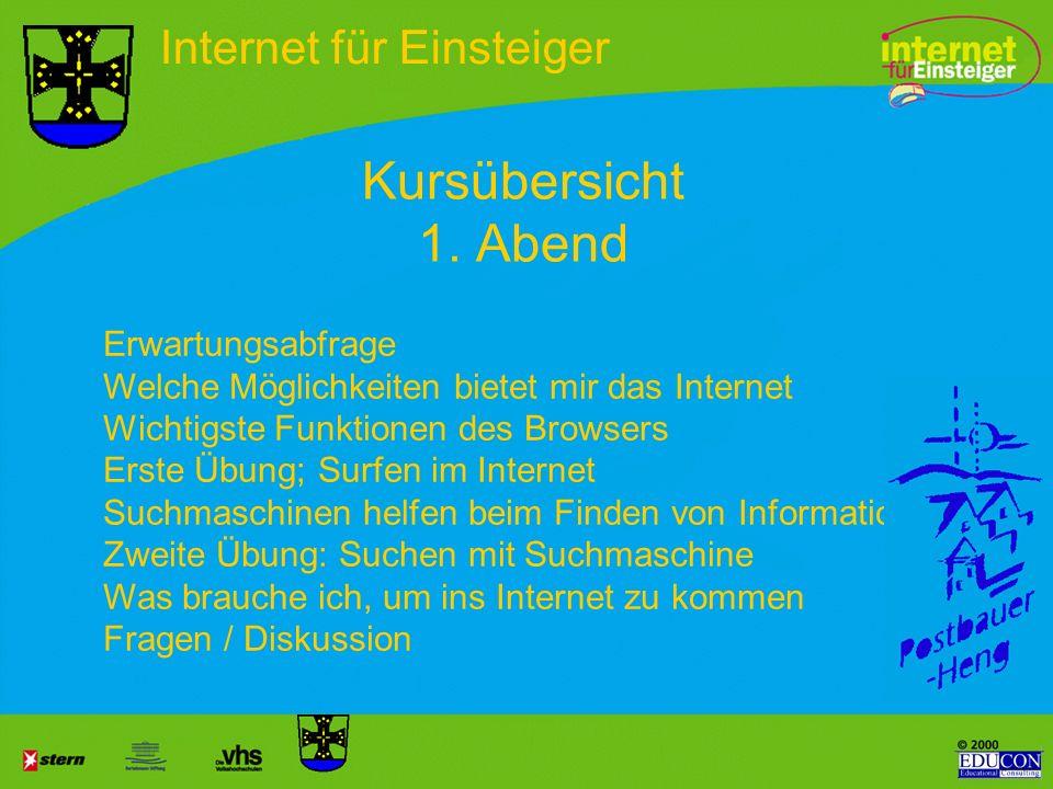 Kursübersicht 1. Abend Internet für Einsteiger