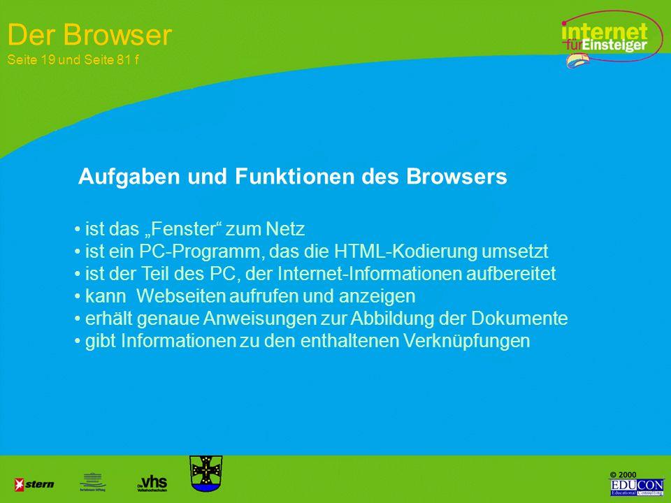 Der Browser Seite 19 und Seite 81 f