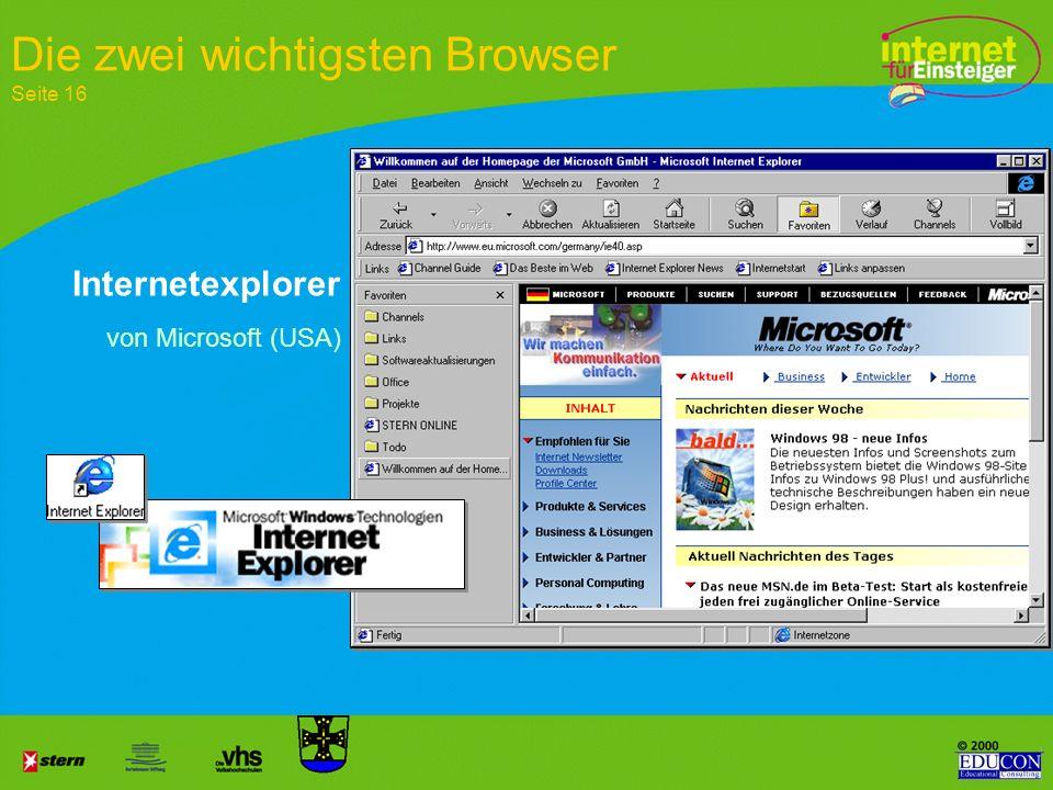 Die zwei wichtigsten Browser Seite 16