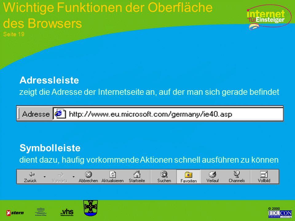 Wichtige Funktionen der Oberfläche des Browsers Seite 19
