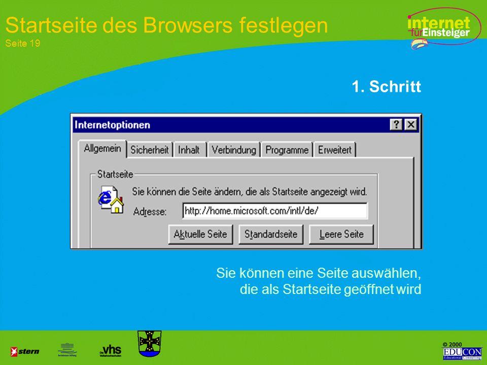 Startseite des Browsers festlegen Seite 19