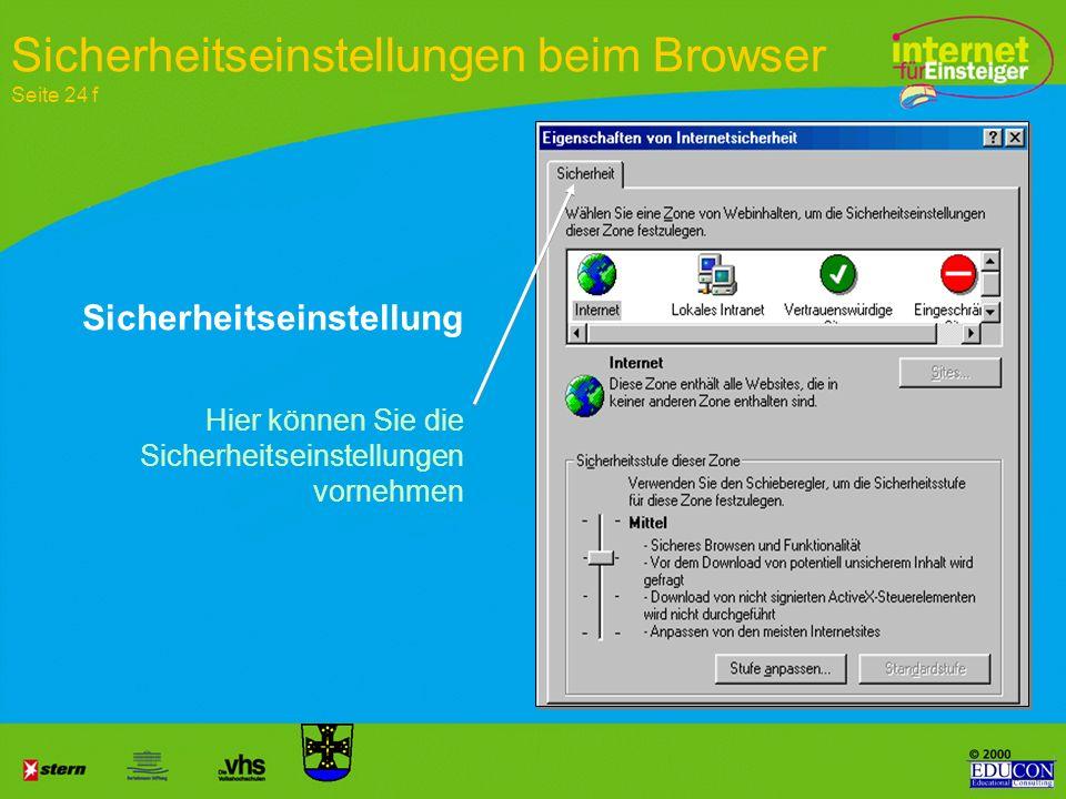 Sicherheitseinstellungen beim Browser Seite 24 f