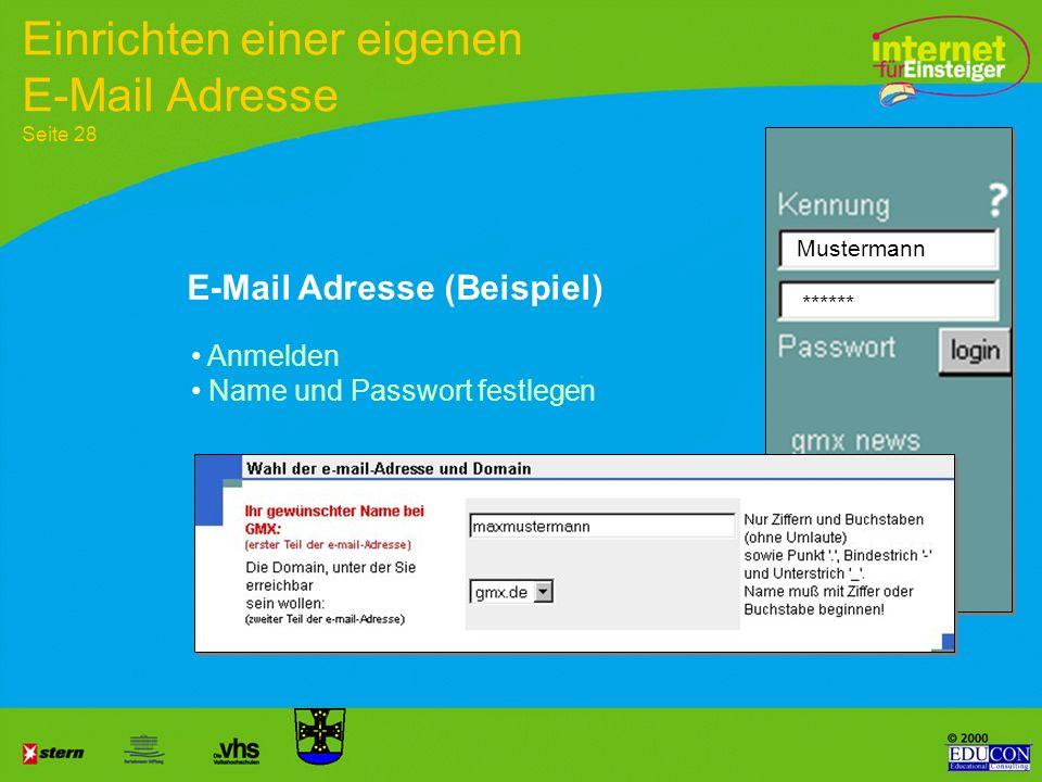 Einrichten einer eigenen E-Mail Adresse Seite 28