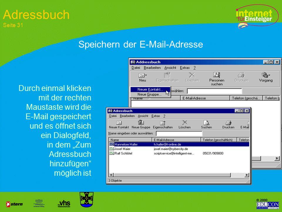 Adressbuch Seite 31 Speichern der E-Mail-Adresse