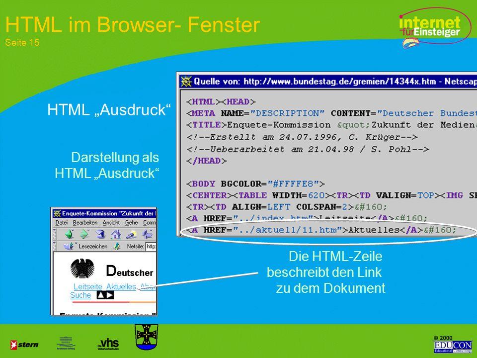 HTML im Browser- Fenster Seite 15