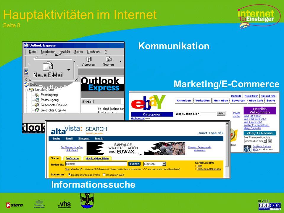 Hauptaktivitäten im Internet Seite 8